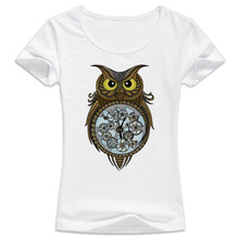 Steampunk owl T-shirt Women Fashion harajuku t shirt kawaii tumblr girl tshirt female Top tees WT553