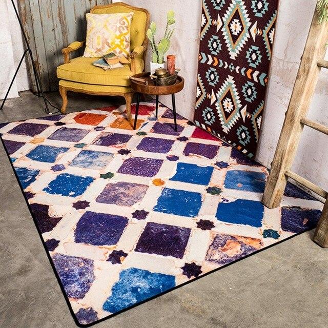 Rétro Coloré Carrelage Motif Salon Carpet Cm étoiles De - Faience cuisine et grand tapis caoutchouc