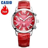 Casio watch Swarovski Crystal women watches top brand luxury set Quartz ladies Chronograph Waterproof watch women reloj mujer