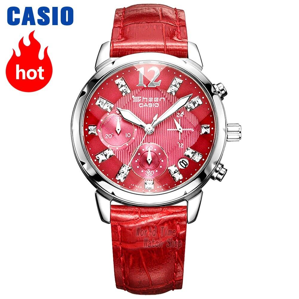 Montre Casio SHEEN montre Quartz femme mode strass grand cadran montre bracelet cuir SHN-5010