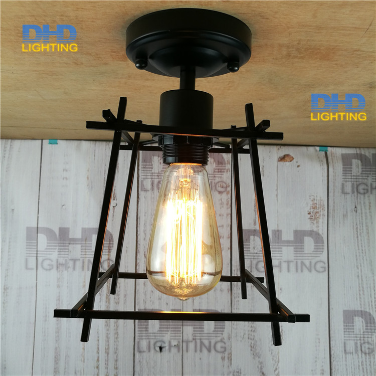 Iron cage Edison Loft Style Vintage Industrial Retro ceiling Light E27 Holder Iron Restaurant Bar Counter Attic edison iron Lamp loft edison vintage retro cystal glass black iron light ceiling lamp cafe dining bar hotel club coffe shop store restaurant