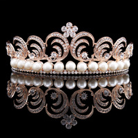 Vintage Wedding Bride Crystal Rhinestone Flower Leaf Simulated Pearl Rose Gold Plated Crown Tiara Headband
