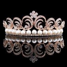Vintage Novia de La Boda de Cristal Simulado Perla Cristal Flor Hoja de Oro Rosa Plateado Corona Tiara Diadema HG00263
