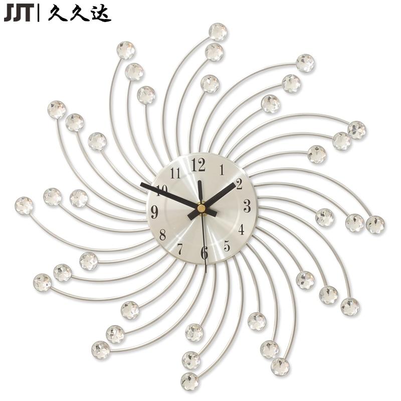 Metal Art Craft Wall Clock Luxury Diamond Small Watch Silver Morden Design Home Decor In Clocks From Garden On Aliexpress