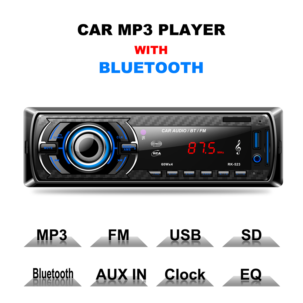 Car MP3/Bluetooth/FM Player with Remote control Anti-shock Digital FM Stereo Radio Support AUX USB SD MMC Card Reader 12V
