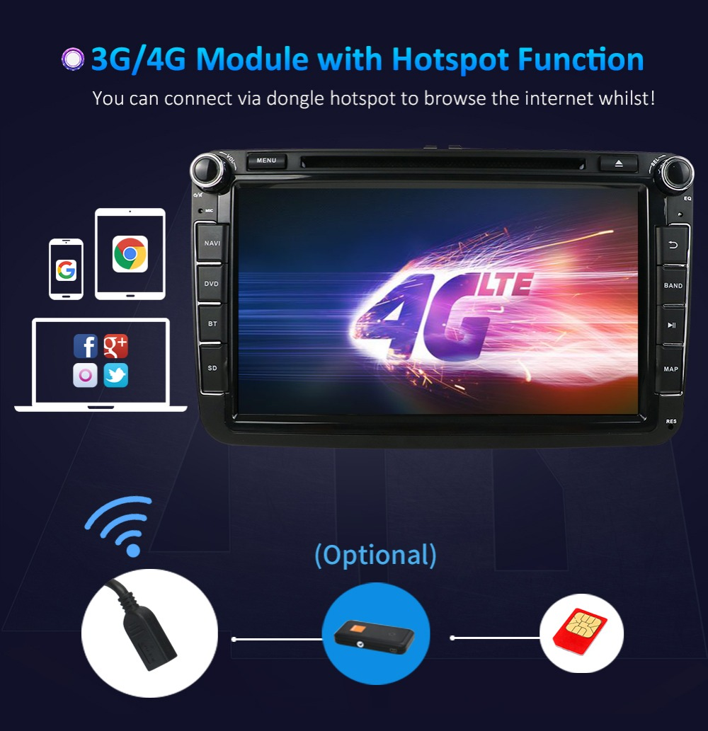 2 DIN 4 Core Android  Car DVD GPS SWC WIFI USB SD For Volkswagen GOLF 5 6 POLO TOURAN EOS PASSAT CC TIGUAN SHARAN SCIROCCO Caddy-in Car Multimedia Player from Automobiles & Motorcycles    3