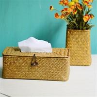 New Creative Sea Grass Tissue Box Cover Handmade Straw Paper Towel Tissue Box Weaving Napkin Holder