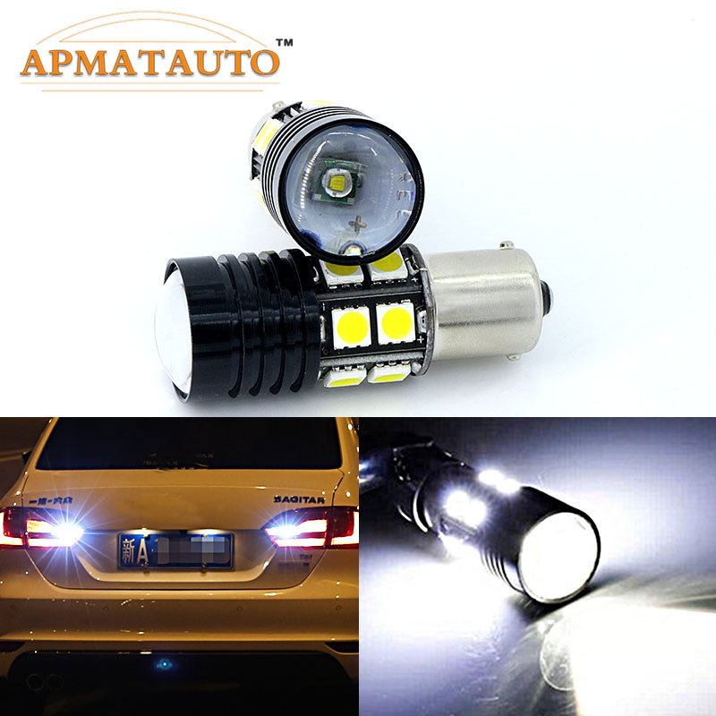 Pair 6000K White 1156 P21W For CREE Chips   No Error Car LED  Rear Reversing Tail Light Bulb For Volkswagen VW TRANSPORTER T4 T5 car rear trunk security shield cargo cover for volkswagen vw tiguan 2016 2017 2018 high qualit black beige auto accessories