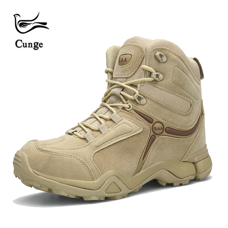 Cunge Outdoor High-top Hiking Shoes For Men Military Tactical Army Boots Winter Desert Men Combat Boots Trekking Mountain Shoes