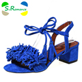 S. Romance Mulheres Sandálias Plus Size 34-43 New Hot Summer Fashion Escritório Meados Calcanhar Casual Lace-SS621 acima Sapatas Das Mulheres Preto Vermelho