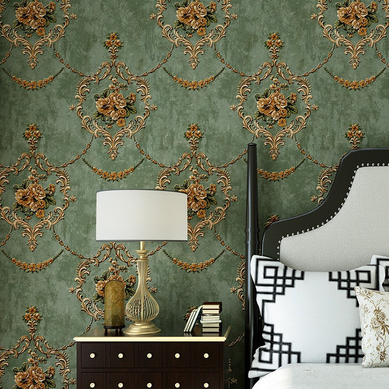 European Style Wallpaper 3D Embossed Floral Non Woven Wall Paper For Living Room TV Sofa Bedroom