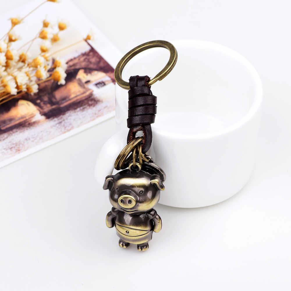 UBEAUTY Bronze การ์ตูนหมู Key Lovers ของขวัญกระเป๋าจี้ผู้หญิง Trinket พวงกุญแจรถ Keychain Chaveiro นวัตกรรม