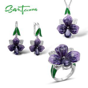 SANTUZZA ювелирный набор, ручная работа, эмаль, большой очаровательный фиолетовый цветок, кольца, серьги-подвеска, набор из стерлингового сереб...