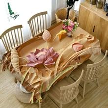 Toalha de mesa customizável 3d clássico padrão de lótus pano impermeável engrossar retangular e redondo pano de mesa para o casamento