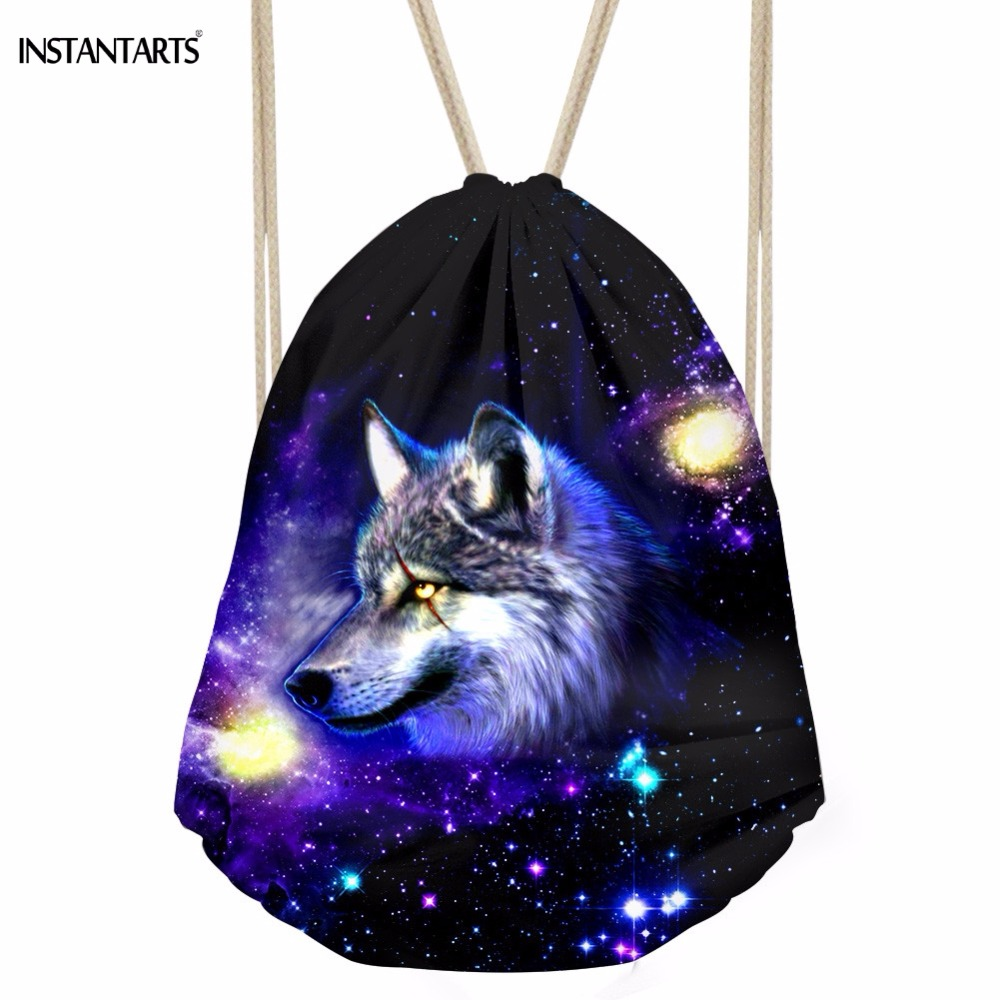 INSTANTARTS Cool Animal 3D Galaxy Nebula Wolf Print Men Drawstring Bags Fashion Male Travel Daily Backpacks Softback Storage Bag