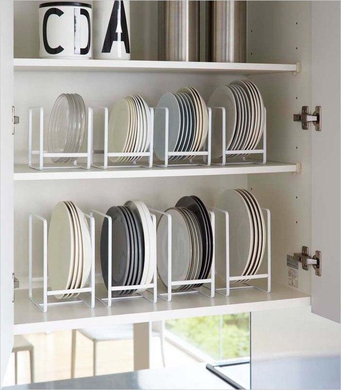 Houmaid Creative Tableware Storage Draining Rack Kitchen Organization Shelves Black White Disk And Bowl Floor Type Holders