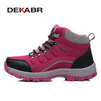 Real Leather Outdoor Hiking Shoes Plus Velvet Men Warm Snow Boots Walking Climbing Non Slip Women