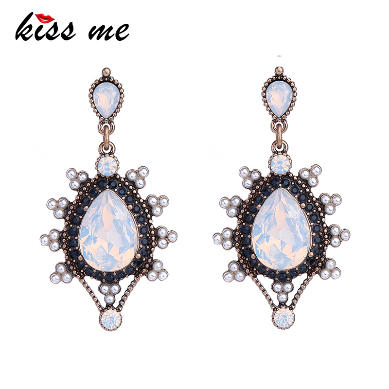 KISS ME Brand Transparent Big Water Drops Earrings for Women Classic Fashion Jewelry Accessories