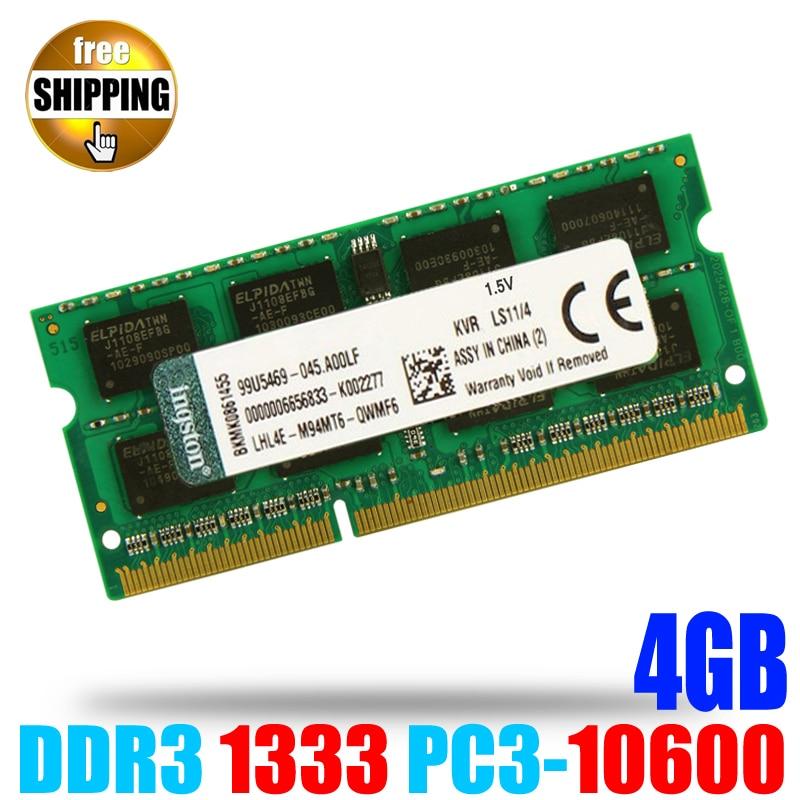 DDR3 1333 PC3-10600 / DDR 3 1333MHz PC3 10600 non-ECC 204 pins 1.5V 4GB SODIMM Memory Module Ram Memoria for Laptop / Notebook