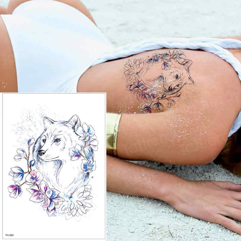 Временная татуировка наклейка татуировка с изображением волка лиса Единорог искусственные татуировки тату животные тату волк тело бикини наклейки водонепроницаемые татуировки