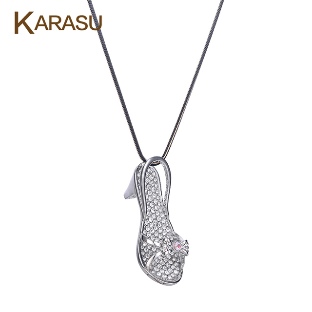 High heels Shoes Shape Silver Plated Tiny Austrian Crystal Pendant Sandal Long Statement Necklaces Women Jewelry