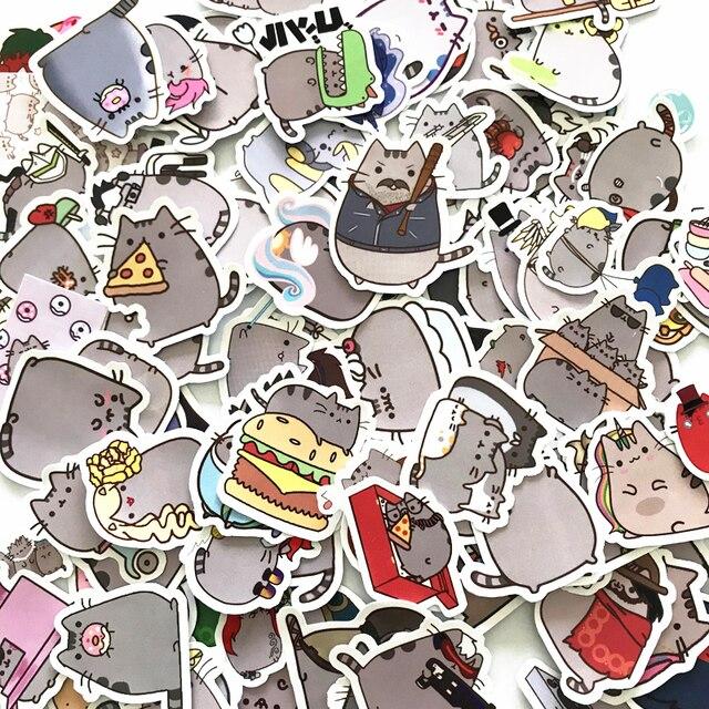 100 Gato Dos Desenhos Animados Adesivos Para Snowboard Pçs/lote Laptop Bagagem Carro Frigorífico Carro Styling Vinyl Decal Home Decor Adesivos