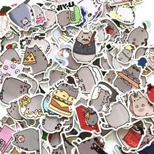 Pegatinas de gato de dibujos animados para Snowboard, portátil, equipaje, coche, nevera, coche, decoración del hogar, pegatinas, 100 unids/lote
