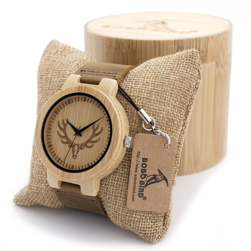 BOBO BIRD Round Vintage Deer Head Bamboo Wood Quartz Analog Wrist Watch For Top Luxury Men Watch With Leather Strap In Gift Box bobo bird o01 o02men s quartz watch top luxury brand bamboo wood dress wristwatch with classic folding clasp in wood gift box