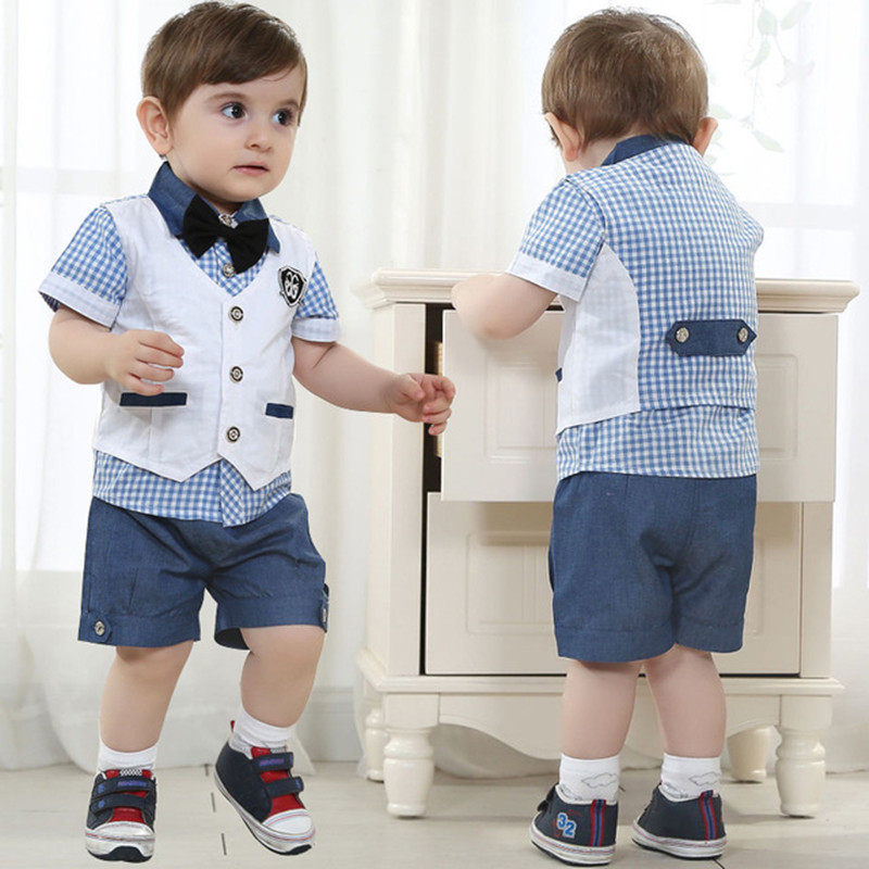 2017 baby boy clothes suit gentleman suits 3pcs vest + T shirt + pants plaid bow shorts summer kids set children's clothing