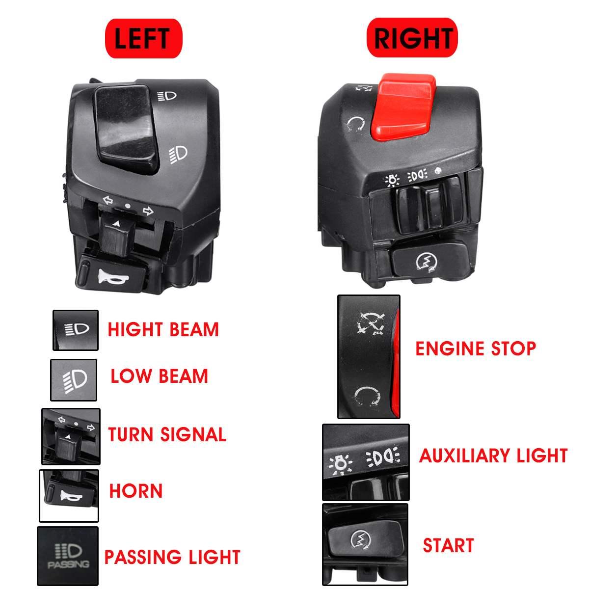 "EB57 7//8/"" Horn Universal Motor Handlebar Control Fog Light Black Motorcycle"