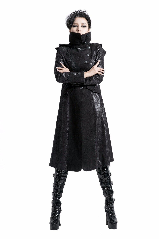 Épais Peignée D'hiver Casual Gothique Long Poitrine Laine Femmes Manches Veste Punk Longues Unique Manteaux wB647qxE