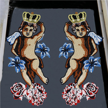 New Crown Angele Boys Patches Sewing Fabric for Clothes Badge Embroidered Flower Appliques DIY Apparel Accessories TH1066-1