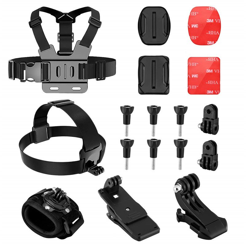 Action Camera Accessories Kit For Gopro Hero 7 6  Xiaomi Yi AKAS Sport Camera Head Strap Body Wrist Strap Backpack Clip Mount