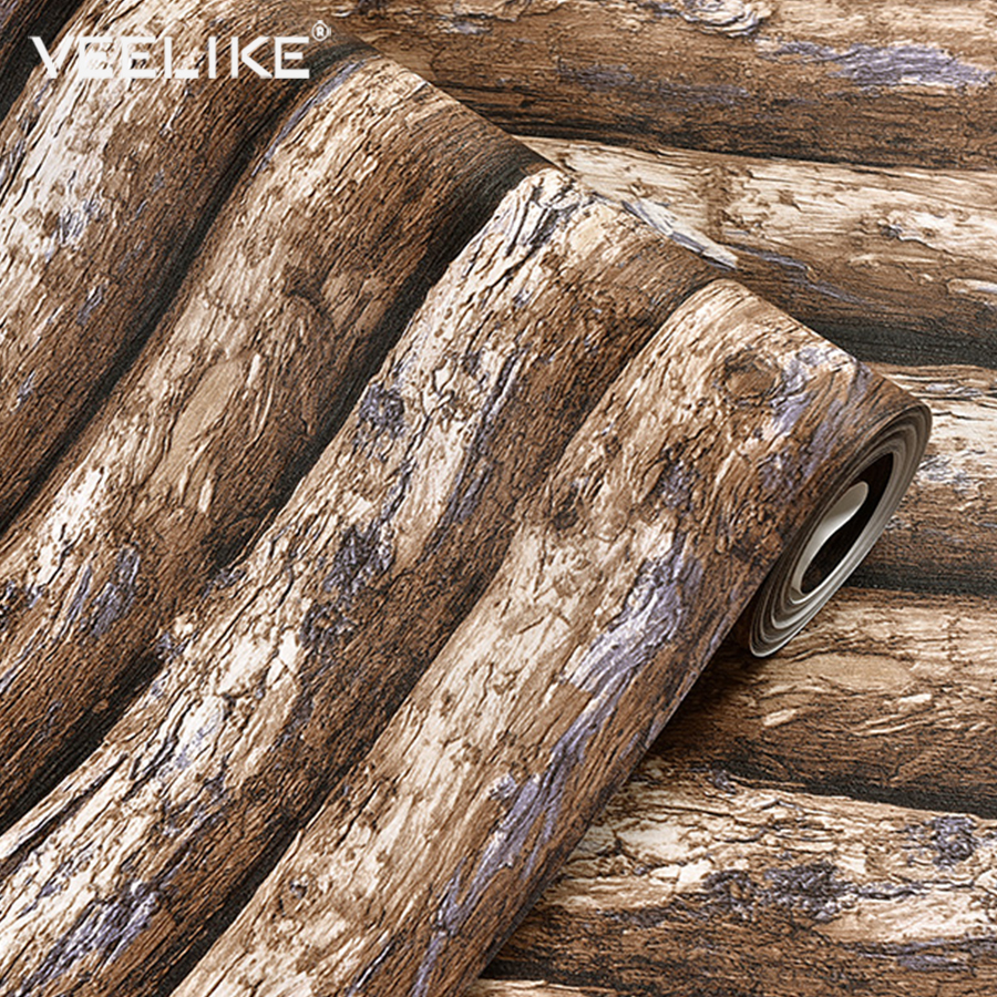 53cmX10m New Waterproof PVC Vinyl Vintage Wallpaper Wood Grain Home Decor Wall Papers Roll For Bedroom Living Room TV Background