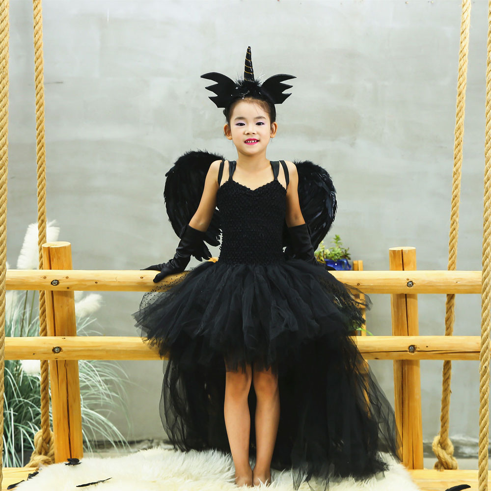 Black Angel Tutu Dress Anomaly Tulle Girl Unicorn costume with wing Kids Pageant Evening Party Dress Girls Halloween dress up
