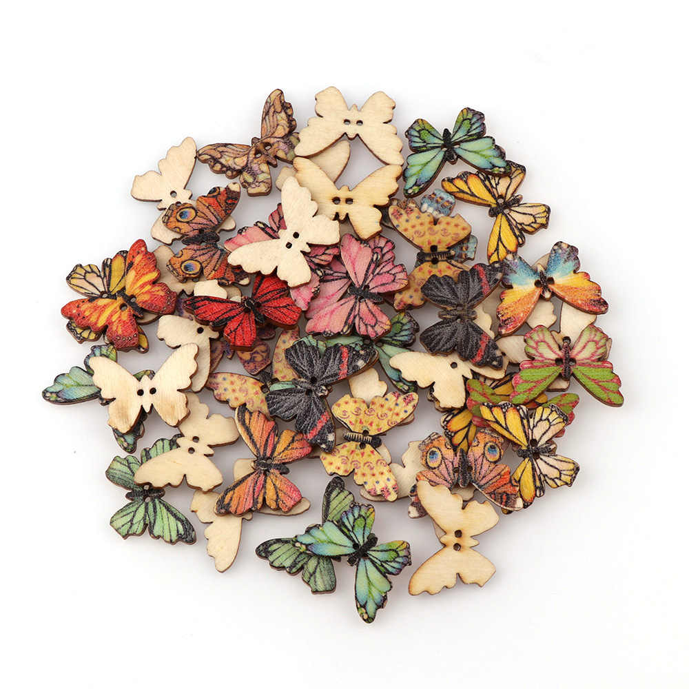 50PC 2 Holes 3 Size Colorful Butterfly Wooden Buttons Fit Sewing And Scrapbooking Sewing Buttons For Craft DIY Mixed