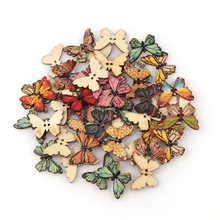 50PC 2 trous 3 taille coloré papillon boutons en bois ajustement couture et Scrapbooking boutons de couture pour artisanat bricolage mixte