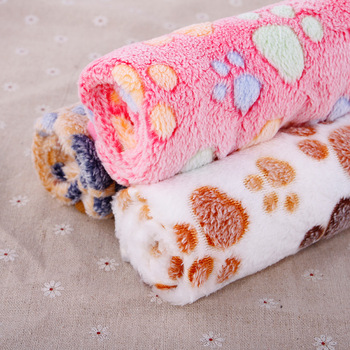 Pet Dog Cat Soft Blanket | Foot Print Winter Bed Small Medium Dogs Cats