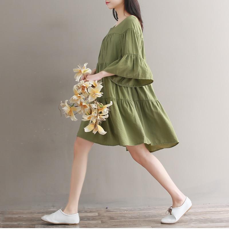 Mori Girl Зеленый свободное платье 2018 новые летние модные женские туфли Flare рукавом Мини торт платья женские Повседневное Vestidos M-XXL