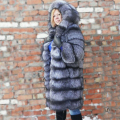 besty high quality real picture natural silver fox fur coat jacket long length winter warm thick coats fashion real fur jacket