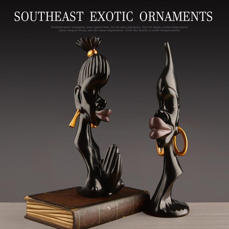 Asie du sud-est résine noir brillant personnes amoureux originalité table décoration maison artisanat personnes figurine halloween cabochon cadeau