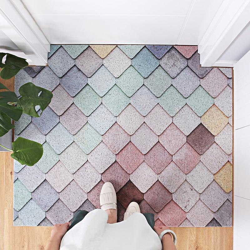 Nordic Green Plants And Geometry Entrance Hall Carpet PVC Wire Loop Mat INS Door Mat Living Room Floor Mat Bathroom Non-slip Rug
