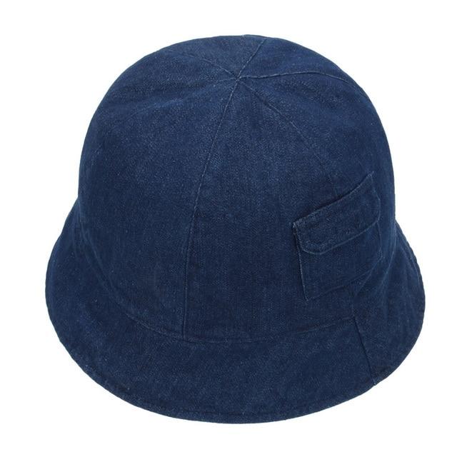 9438ce995c1 Denim Baby Hat Summer Girl Boy Bucket Hat Pocket Side Children Beach Sun Cap  Stripe Fisherman Cap for 4-5 Years Goldtop