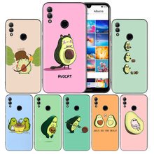 Cute avocado Art Print Black Silicone Case Cover for Huawei Honor 8X 8C 8A 8S 10 10i Lite Play V20 Y9 Y7 Y6 Y5 Prime 2018 2019(China)