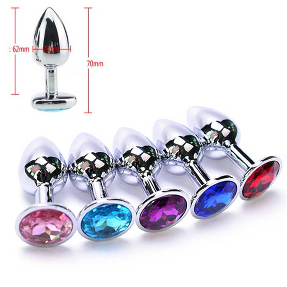 Intim Logam Anal Plug dengan Perhiasan Kristal Sentuhan Halus Butt Plug Tidak Vibrator Anal Manik Anus Dildo Anal Panas dan Toko