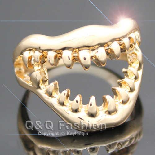 세련된 상어 이빨 두개골 지옥 악마 입 손가락 반지 고스 emo 펑크 멋진 드레스 쥬얼리 새로운 치아 도매 대량 대량 유행