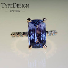 цены Exquisite Rose Gold sapphire Ring Blue CZ Jewelry Anniversary Promise Gift Engagement Wedding Band Rings for Women
