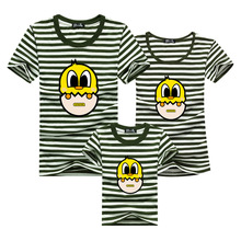 Matching Family Clothes 2016 Striped T-shirt Cartoon T Shirt Men Brand Clothing Tshirt Poleras Hombre Skate Mother Kids Clothes