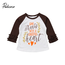 Thanksgiving Toddler Kids Baby Girls Clothes Letter Long Sleeve Ruffles T-Shirt Tops Blouse Casual Cotton Party Outfits 1-5T