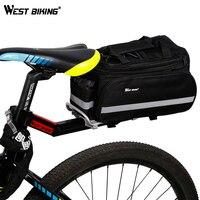 WEST BIKING 65kg Capacity Bike Racks+Bag Bike Luggage V Brake Disc Rack Stacking Shelf Tailstock Bicycle Rack+Rear Saddle Bag